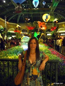 Sandra in front of Bellagio's tropical rainforest